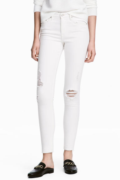 Skinny Regular Ankle Jeans - White denim - Ladies | H&M IE