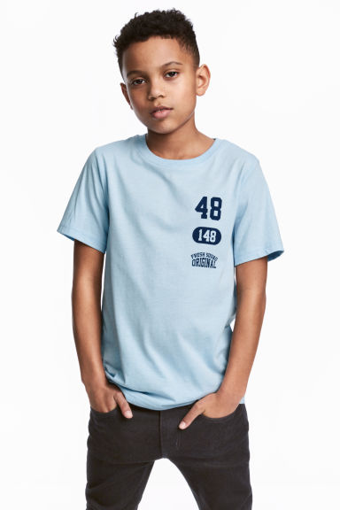 Printed T-shirt - Light blue -  | H&M GB