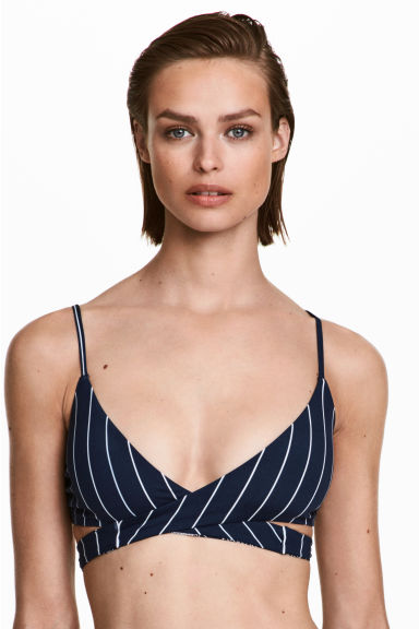Omkeerbare bikinitop - Donkerblauw/wit gestreept - DAMES | H&M BE