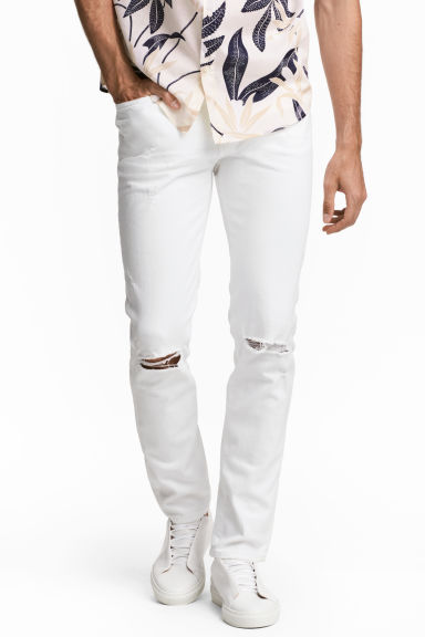 Relaxed Skinny Jeans - 白色牛仔布 - Men | H&M CN
