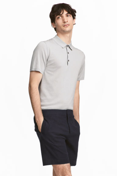 Silk-blend polo shirt - Light grey - Men | H&M