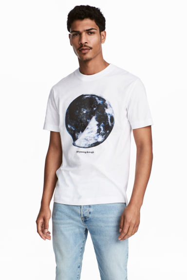 Printed T-shirt - White/Moon -  | H&M