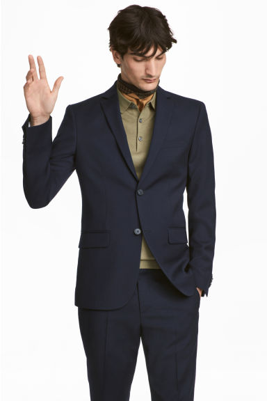 Wollen blazer - Slim fit - Donkerblauw - HEREN | H&M BE