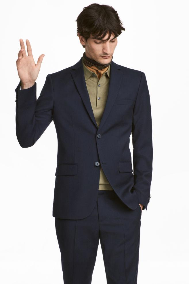 Zaktualizowano Wełniana marynarka Slim fit - Ciemnoniebieski - ON   H&M PL HT72