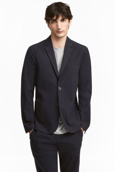 Seersucker jacket Slim fit - Dark blue -  | H&M