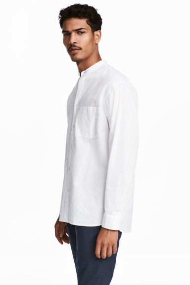 Camisa cuello mao Relaxed fit - Blanco -  | H&M ES