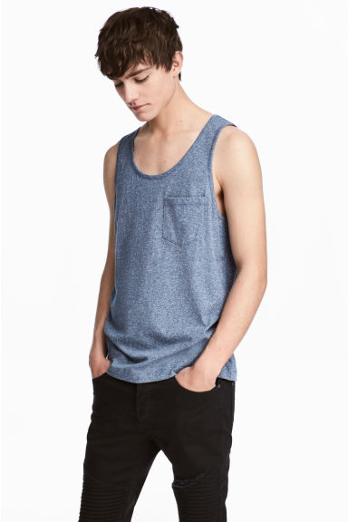 Vest top with a chest pocket - Dark blue marl - Men | H&M IE