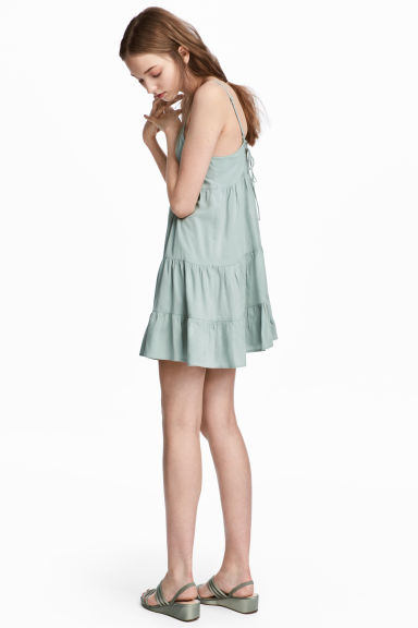 Lyocell-blend tiered dress - Dusky green - Ladies | H&M