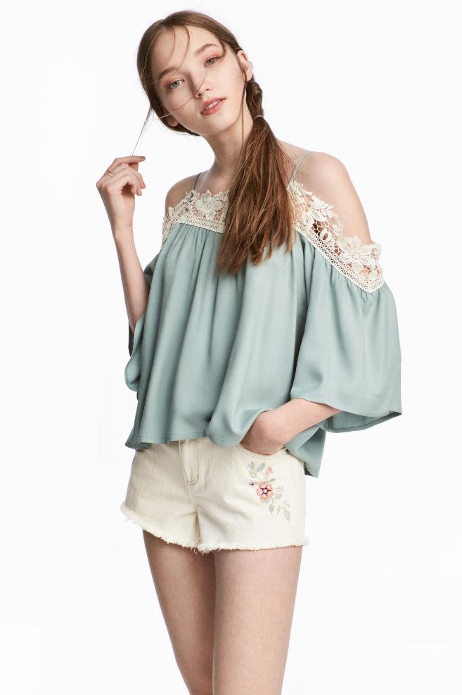 10cfe0f26fa9ad Off-the-shoulder blouse - Dusky green -