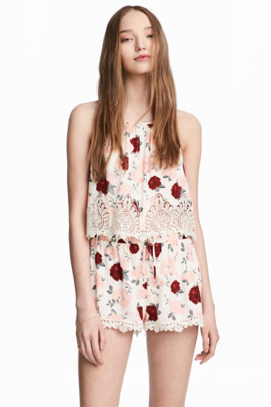 Top with lace details - Natural white/Floral - Ladies | H&M