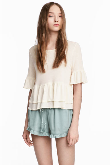Flounced linen-blend top - Natural white - Ladies | H&M