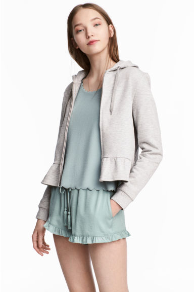 Flounce-hemmed hooded jacket - Light grey marl - Ladies | H&M