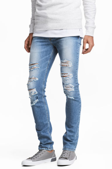Skinny Low Trashed Jeans - 牛仔蓝 - Men | H&M CN