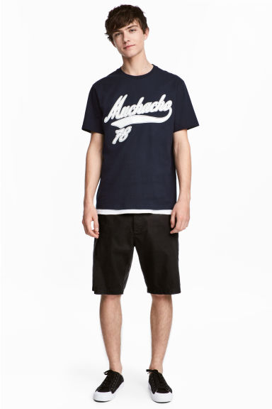 Knee-length cotton shorts - Black - Men | H&M
