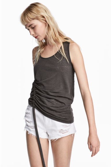 Drawstring vest top - Dark grey -  | H&M