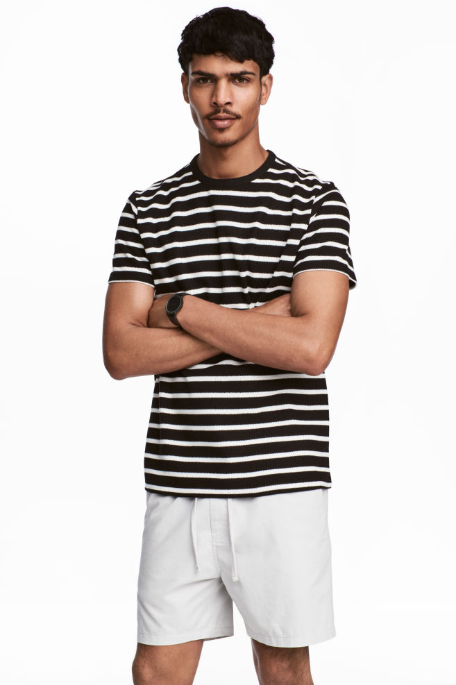 d61fe5bc5fd560 Cotton piqué T-shirt - Black/White/Striped - Men | H&M GB