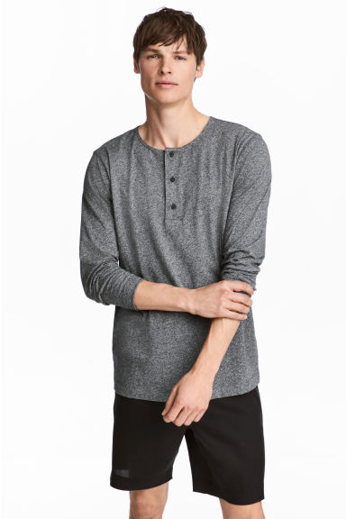 Henley top - Dark grey marl -  | H&M CN