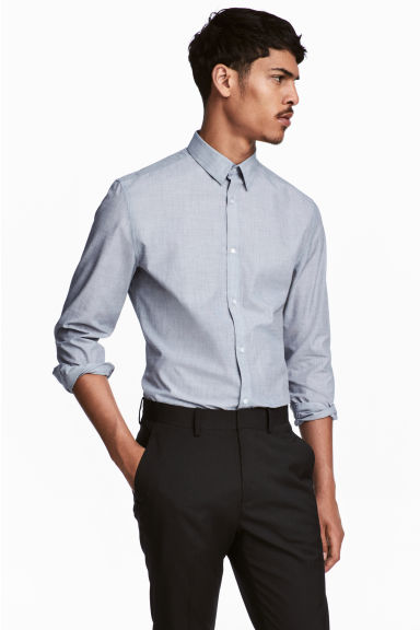 Easy-iron shirt Slim fit - Grey/Chambray - Men | H&M CN