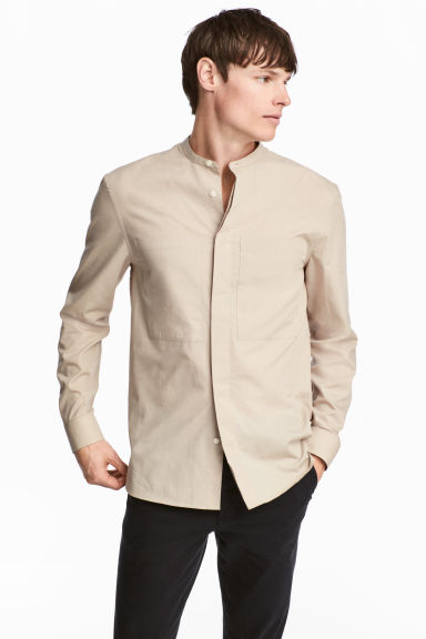 Shirt with a grandad collar - Beige -  | H&M IE