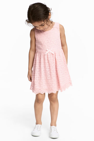 Sleeveless lace dress - Light pink - Kids | H&M CN
