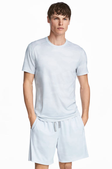 Short-sleeved sports top - White/Patterned -  | H&M CN