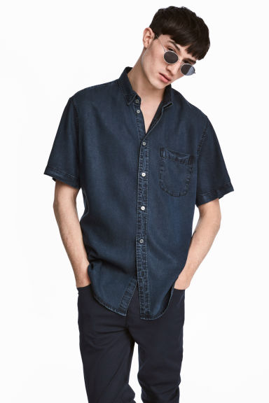 Camisa manga curta Regular fit - Azul denim escuro -  | H&M PT