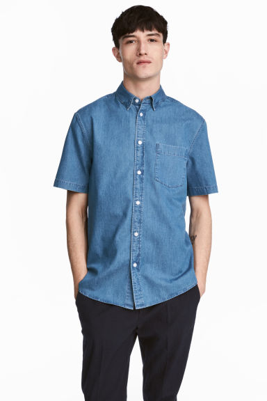 Camicia a maniche corte - Blu denim - UOMO | H&M IT