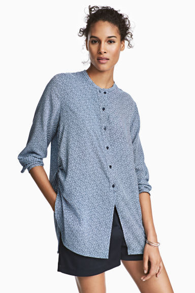 Drawstring blouse - Dark blue/Striped -  | H&M