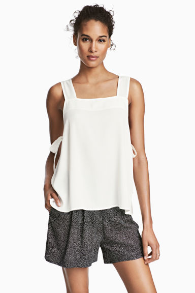 Strap top with ties - White - Ladies | H&M CN