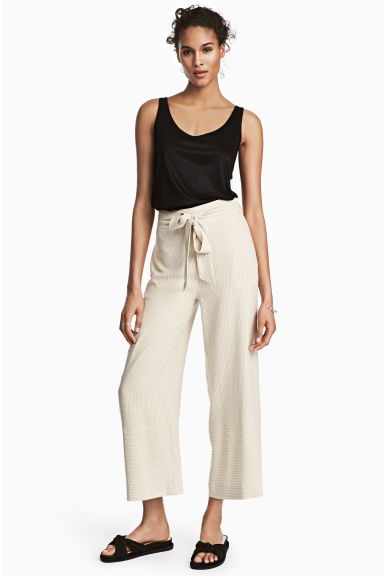 Pinstriped trousers - Natural white/Striped -  | H&M