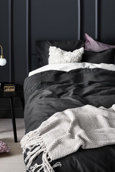 Embroidered duvet cover set - Anthracite grey -  | H&M GB
