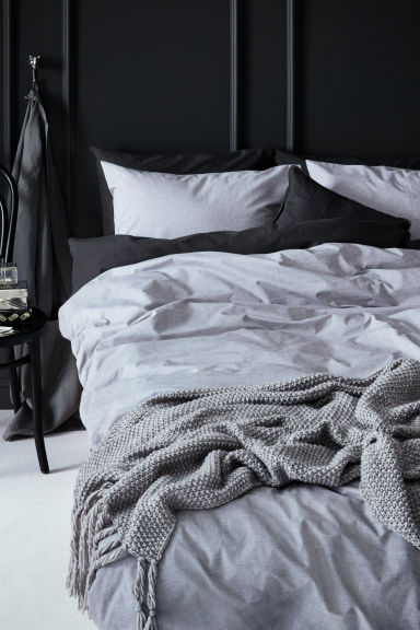 Cotton chambray duvet set - Light grey - Home All | H&M IE