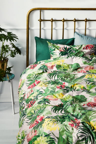 Floral-print duvet cover set - Light pink/Green - Home All | H&M GB
