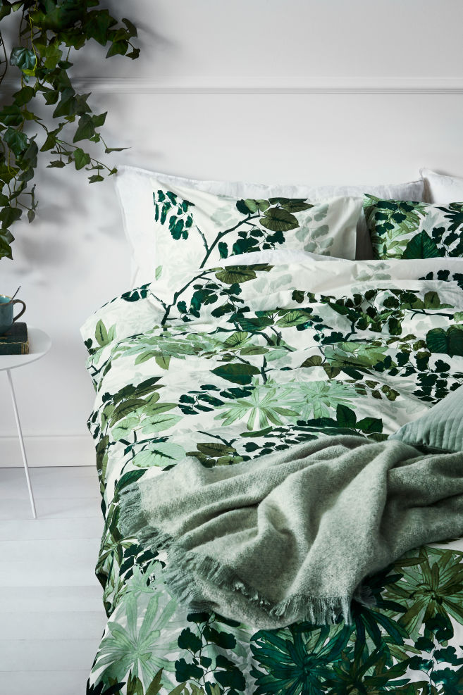 Leaf Print Duvet Cover Set Whitegreen Home All Hm Gb