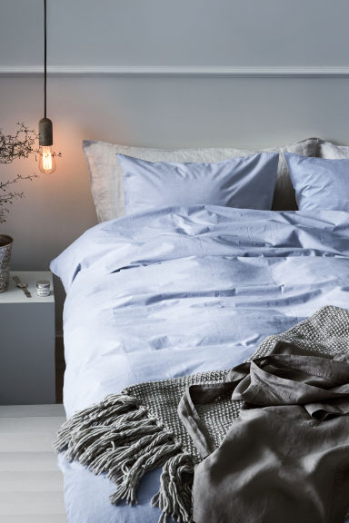 Set copripiumino in chambray - Azzurro - HOME | H&M IT