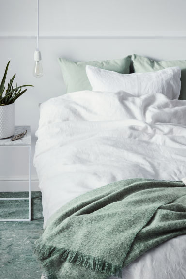 Washed Linen Duvet Cover Set - White -  | H&M CA
