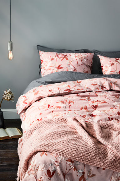 Floral-print duvet cover set - Light pink/Coral - Home All | H&M GB
