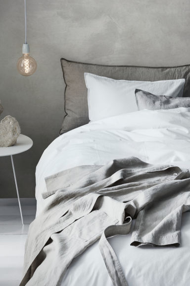 Washed cotton duvet cover set - White -  | H&M CN