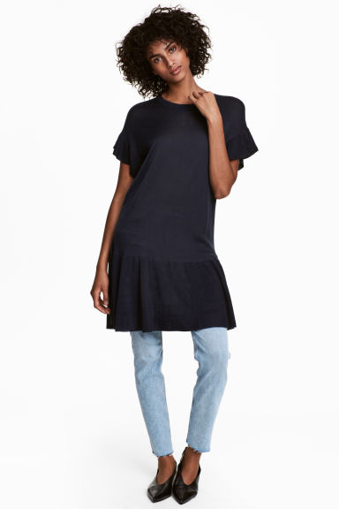 Fine-knit dress - Dark blue -  | H&M CN