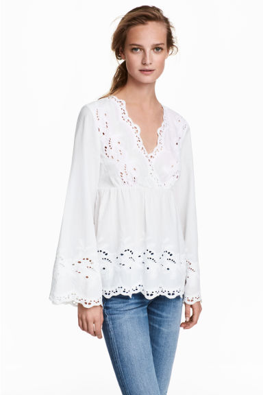 Blouse avec broderie anglaise - Blanc -  | H&M FR