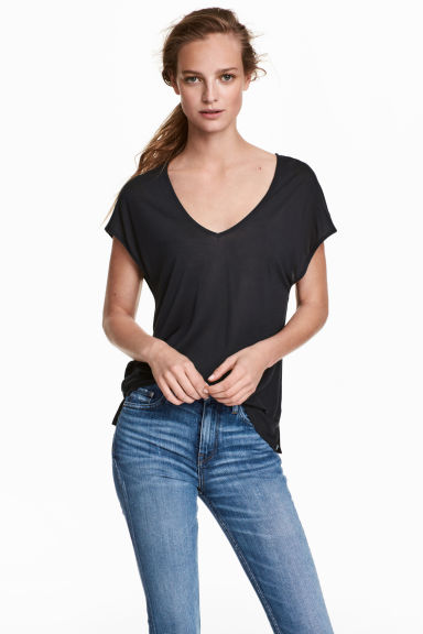 Lyocell V-neck top - Dark grey - Ladies | H&M CN