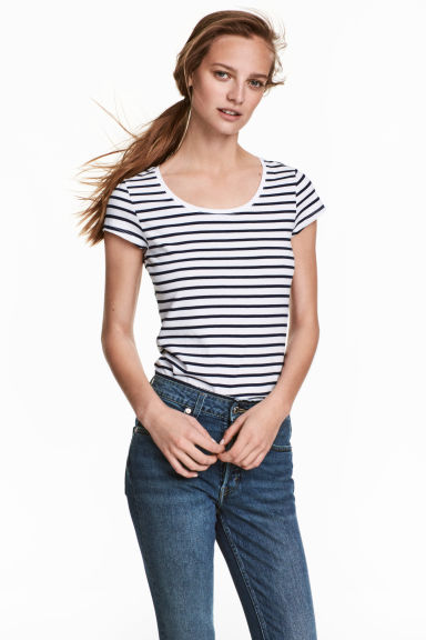 2件入平紋上衣 - Dark blue/Striped -  | H&M