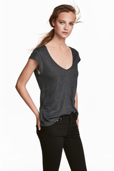 Linen jersey top - Dark grey - Ladies | H&M CN