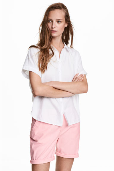 Cotton shorts - Pink/White striped - Ladies | H&M