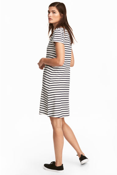 Jersey dress - White/Striped - Ladies | H&M CN
