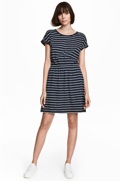 Jersey dress - Dark blue/Striped - Ladies | H&M