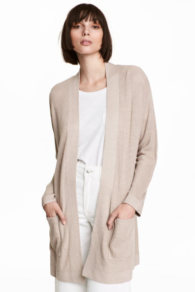 Ribbed cardigan - Light beige marl -  | H&M CN