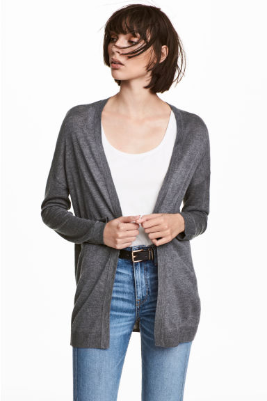 Fine-knit cardigan - Dark grey marl - Ladies | H&M