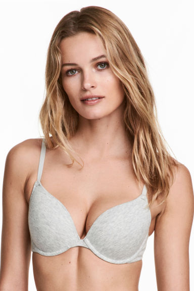 2-pack push-up cotton-mix bras - Grey marl/Beige -  | H&M
