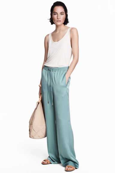 Wide-leg Satin Pants - Blue-grey - Ladies | H&M US